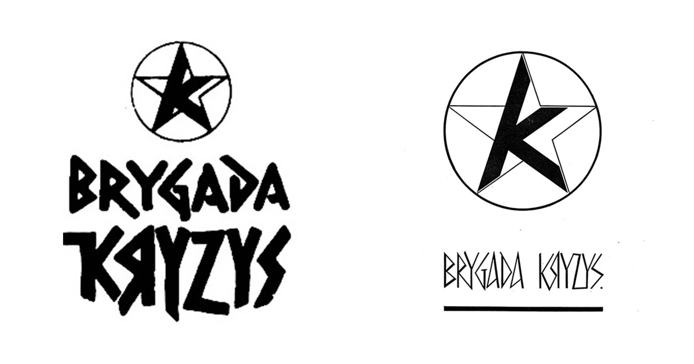 4.Pierwsze logo Brygady Kryzys (po lewej) i jego późniejszy wariant