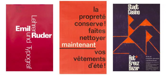Plakaty wykorzystujące wyłącznie kroje beszeryfowe (1, 2, 3), International Poster Gallery