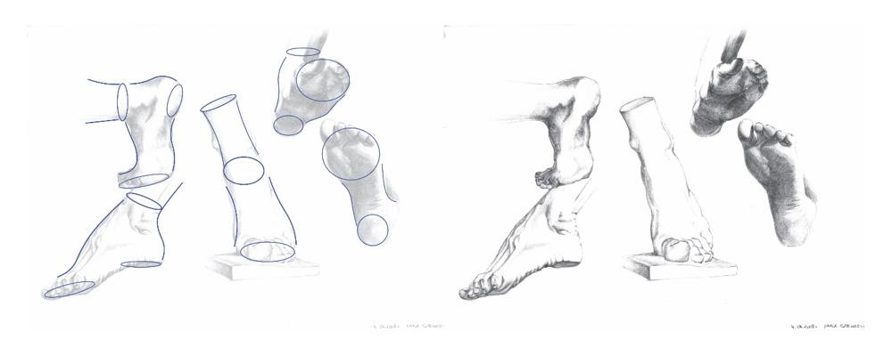 Szkic rysunku stóp