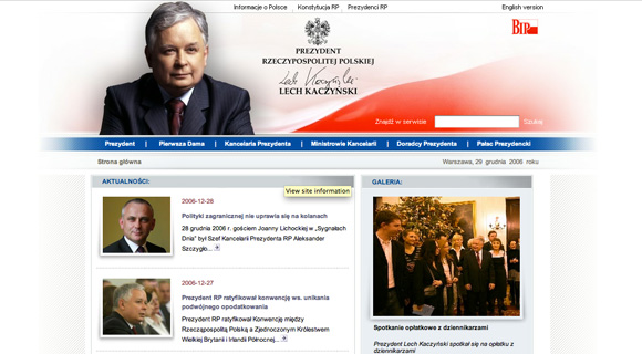 Strona Prezydenta za kadencji Lecha Kaczyńskiego