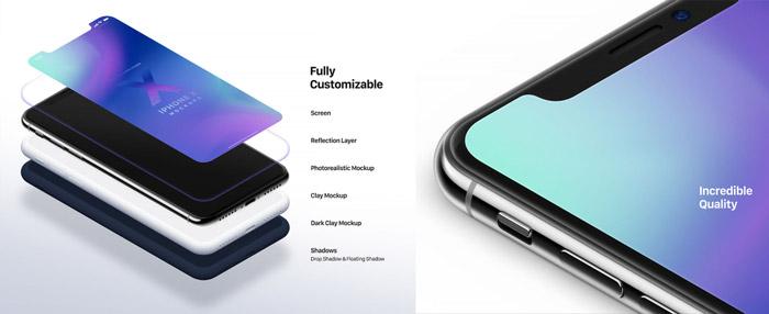 Izometryczne mockupy iPhone X - freebies, darmowe materiały