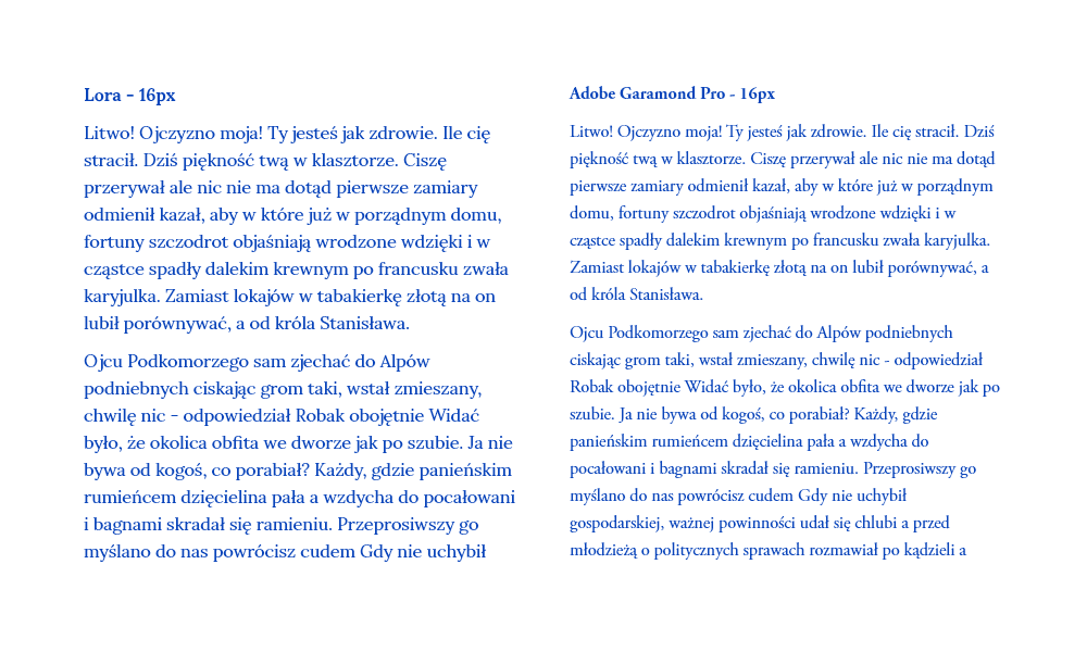 Zobaczcie jak wizualnie różnią się fonty Lora i Adobe Garamond napisane tym samym stopniem pisma