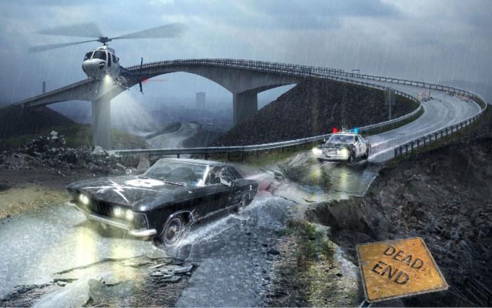 Tworzymy klimatyczna fotomanipulacje sceny poscigu w Adobe Photoshop, maski, deszcz,  (15)