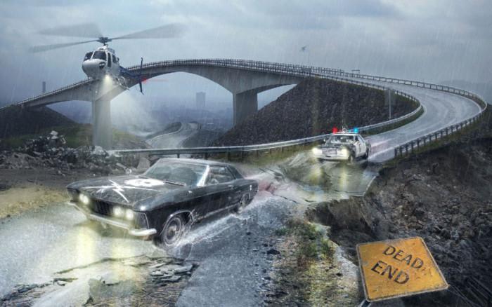 Tworzymy klimatyczna fotomanipulacje sceny poscigu w Adobe Photoshop, maski, deszcz,  (14)