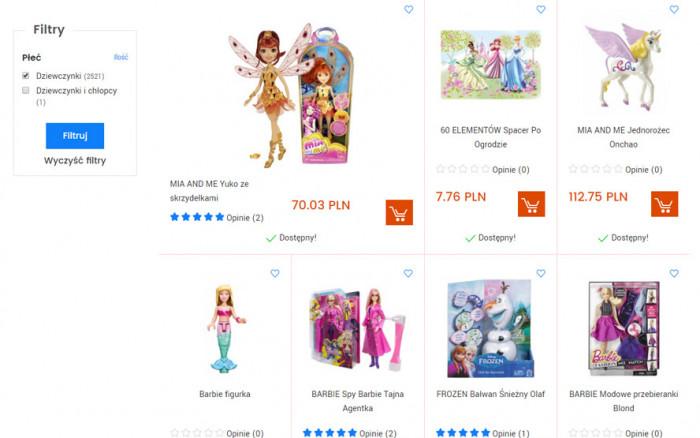 Wyniki wyszukiwania produktów dla dziewczynek w sklepie internetowym Urwis