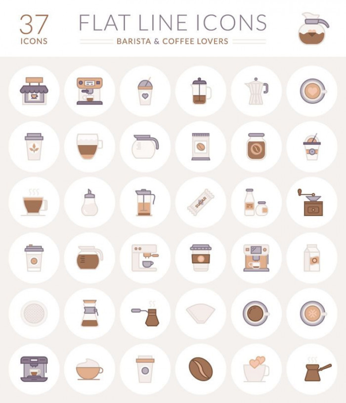 The-Free-Barista-&-Coffee-Lover-Flat-Line-Icon-Set