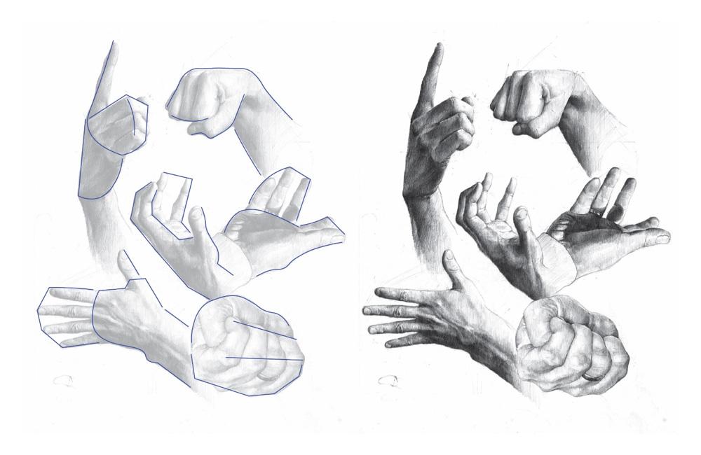 Szkic rysunku dłoni