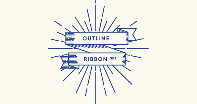 Retro-Outline-Ribbon-Vector-Set