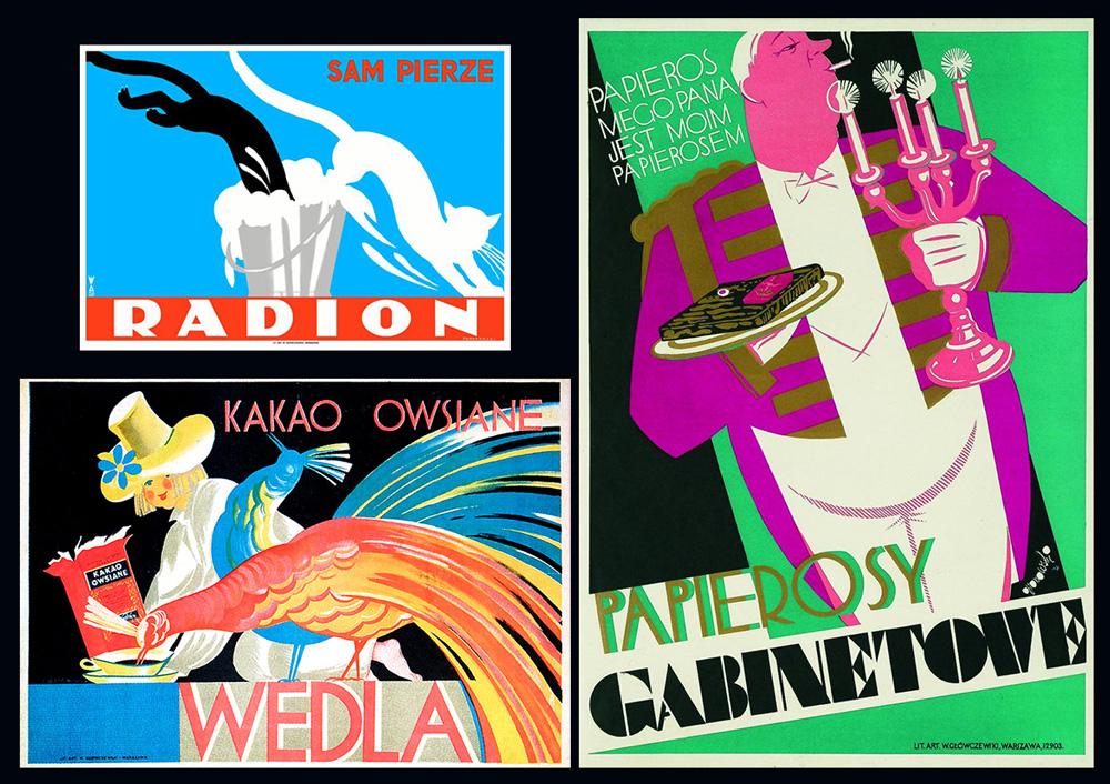 Tadeusz Gronowski:Radion sam pierze - 1926, Papierosy Gabinetowe - 1931, Kakao owsiane Wedla - 1927