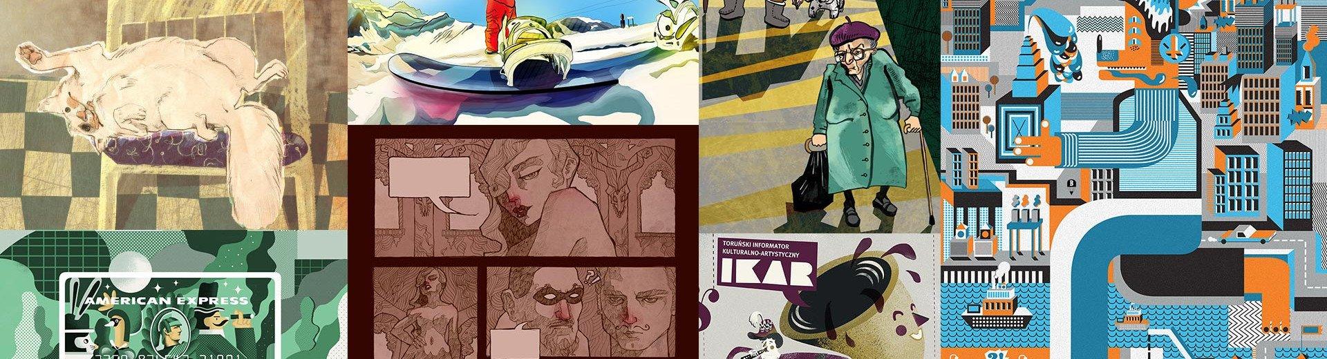 Okładka artykułu Tak zaczynali! Pierwsze projekty popularnych ilustratorów — Podkościelny, Bogucka, Gąska, Dymek, Banach