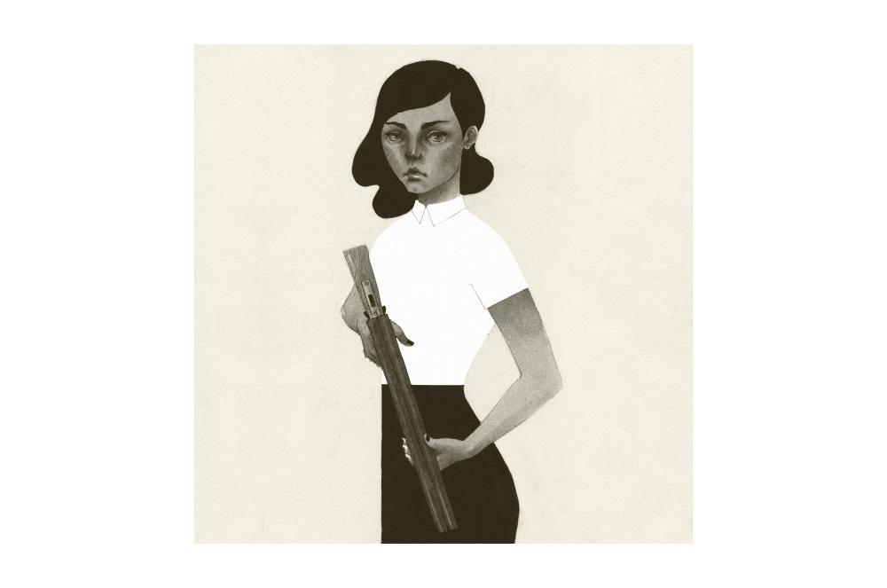 Ilustracja kobiety wykonana analogowo