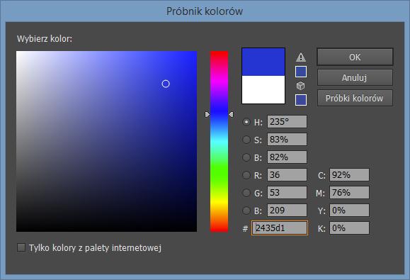 Próbnik kolorów programu Adobe Illustrator CC 2014