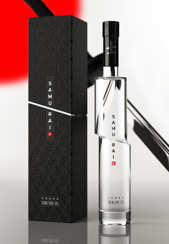 Interesująca butelka oraz opakowanie wódki Vodka SAMURAI. via behance
