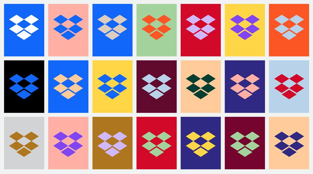 Połączenia kolorów z rebrandingu Dropbox z 2017 roku