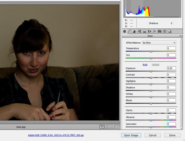 mozliwosci modyfikowania zdjecia jpg jako raw w camera raw