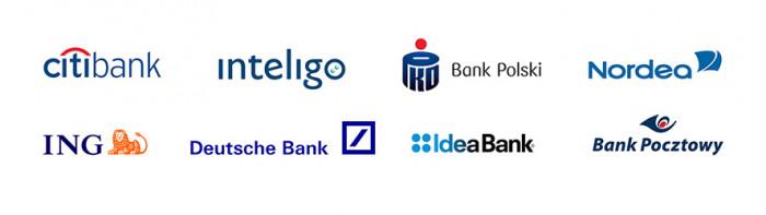 Niebieskie loga popularnych w Polsce banków