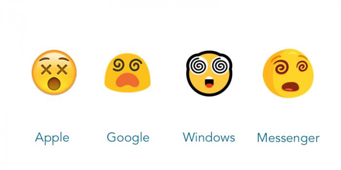 Ta sama emocja przedstawiona przez różnych twórców, źródło: blog.emojipedia.org