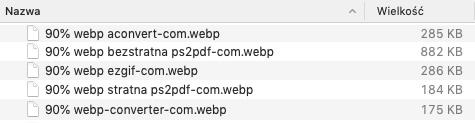 Porównanie wagi plików WebP