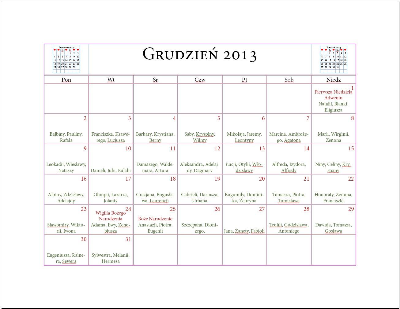 05 Projektujemy kalendarz z imieninami Indesign Kalendarium