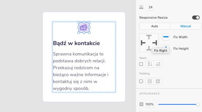 Responsywne skalowanie w Adobe XD