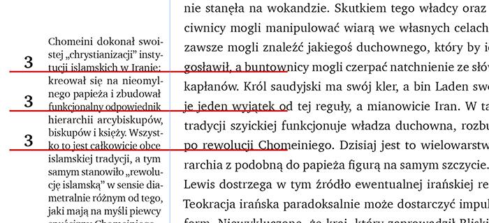 Co trzeci wiersz przypisu bocznego wpada w wiersz tekstu głównego
