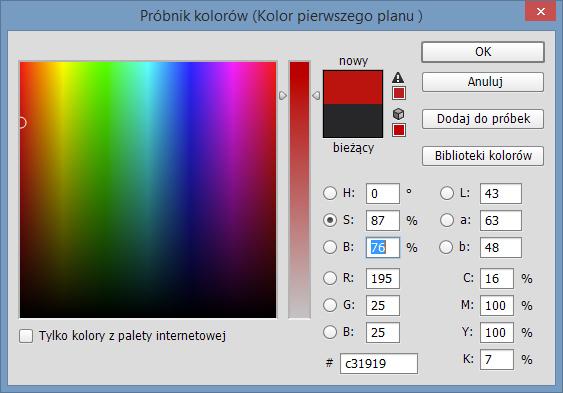 Próbnik kolorów programu Adobe Photoshop CC 2014