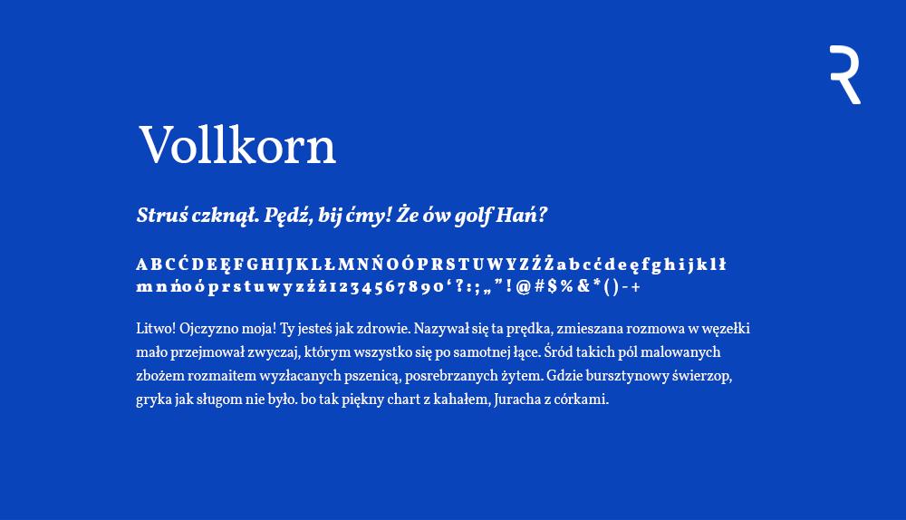 Vollkorn darmowy font