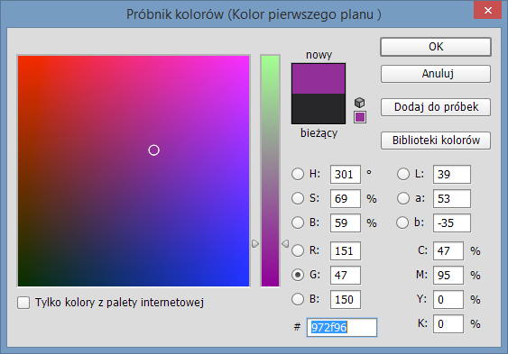 Próbnik kolorów programu Photoshop dla modelu barw RGB