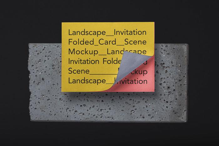 Landscape Psd Invitation Card Mockup