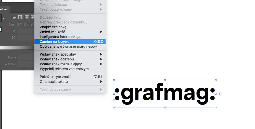 Zamiana tekstu na krzywe w Illustratorze