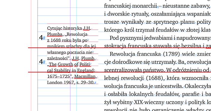 Co czwarty wiersz przypisu bocznego wpada w wiersz tekstu głównego.