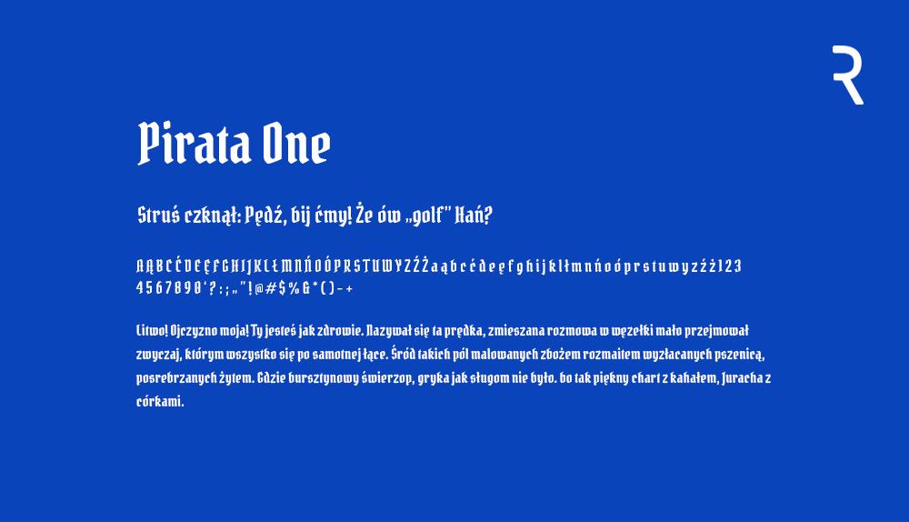 Darmowy font z polskimi znakami Pirata One