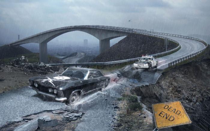 Tworzymy klimatyczna fotomanipulacje sceny poscigu w Adobe Photoshop, maski, deszcz,  (12)