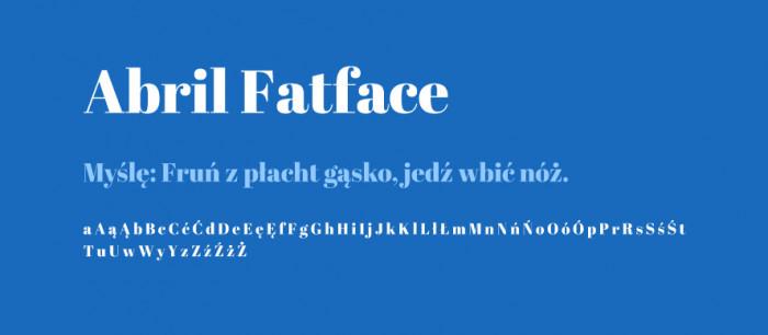 Abril-Fatface-materialy-Darmowe-fonty-z-polskimi-znakami