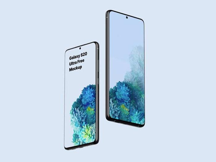 Galaxy S20 Ultra Free PSD and Sketch Mockup
