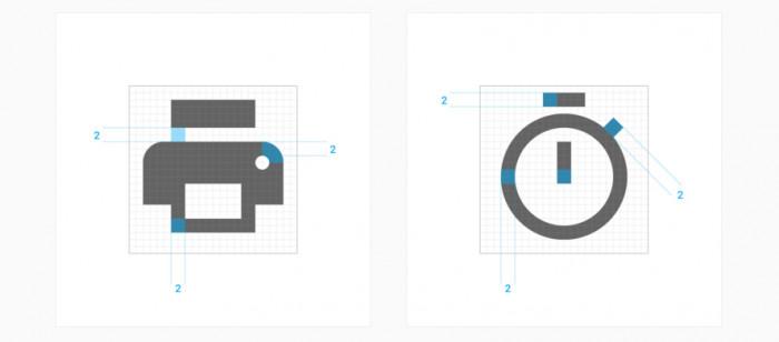 Przykłady wykorzystania wartości 2dp do tworzenia ikon, https://www.google.com/design/spec/style/icons.html