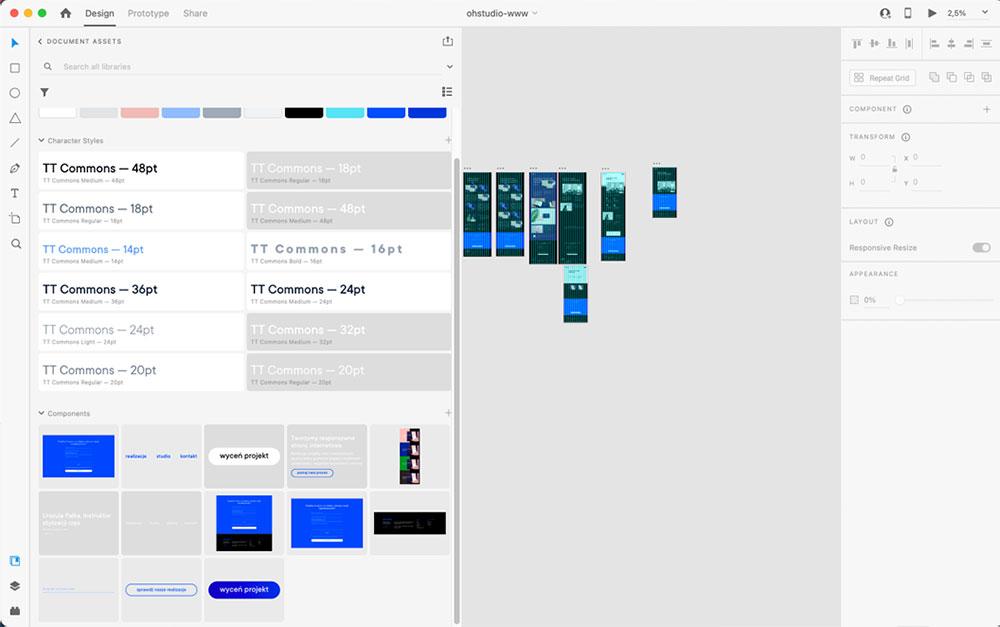 Panel komponentów w Adobe XD