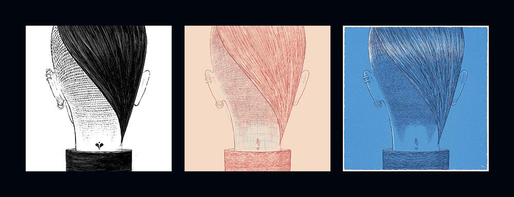 Trzy wersje ilustracji Bartosza Kosowskiego