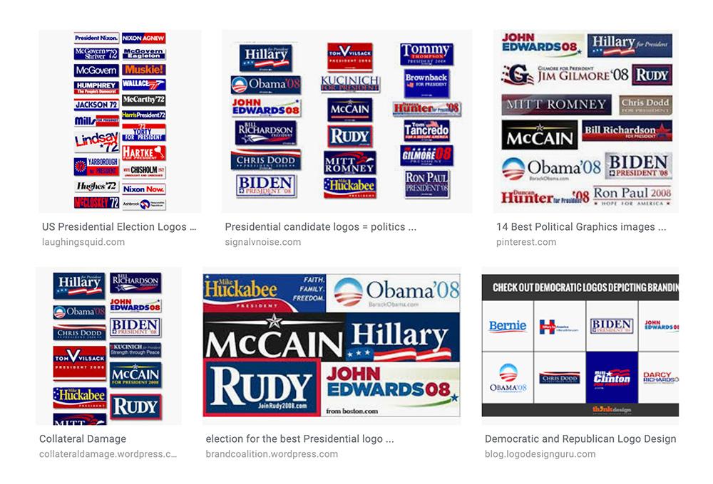 Dawne loga kandydatów do wyborów w USA