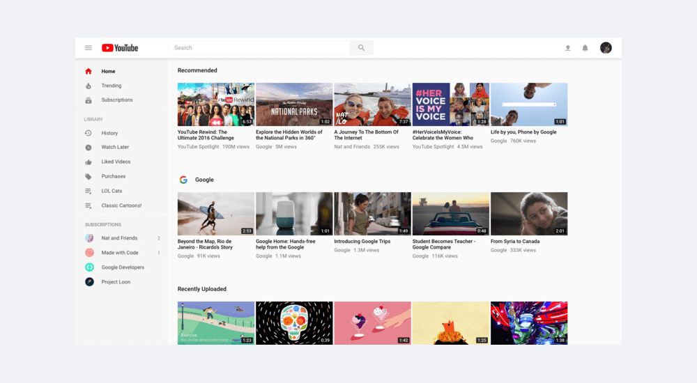 Redesign interfejsu YouTube