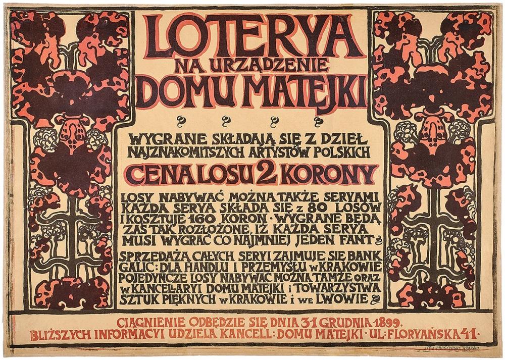 Loterya na urządzenie Domu Matejki (1899, plakat) Józef Mehoffer