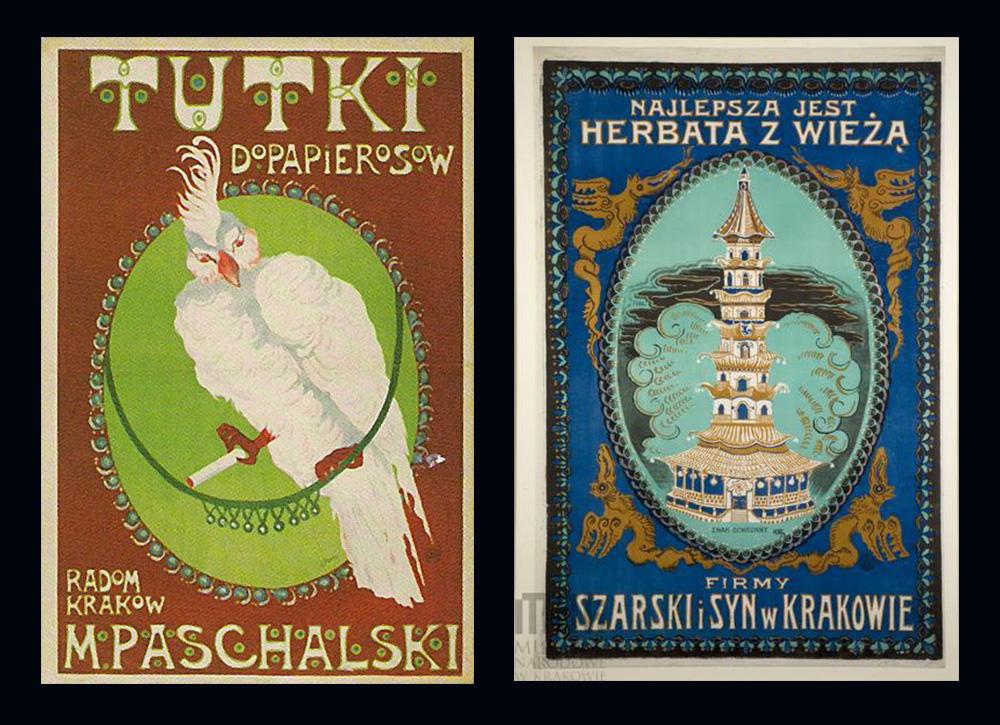 Tutki do papierosów M.Paschalski - 1908,Herbata z wieżą - 1911