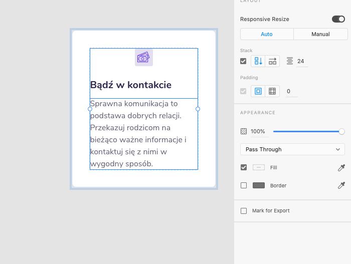 Zmiana kierunku stack w Adobe XD