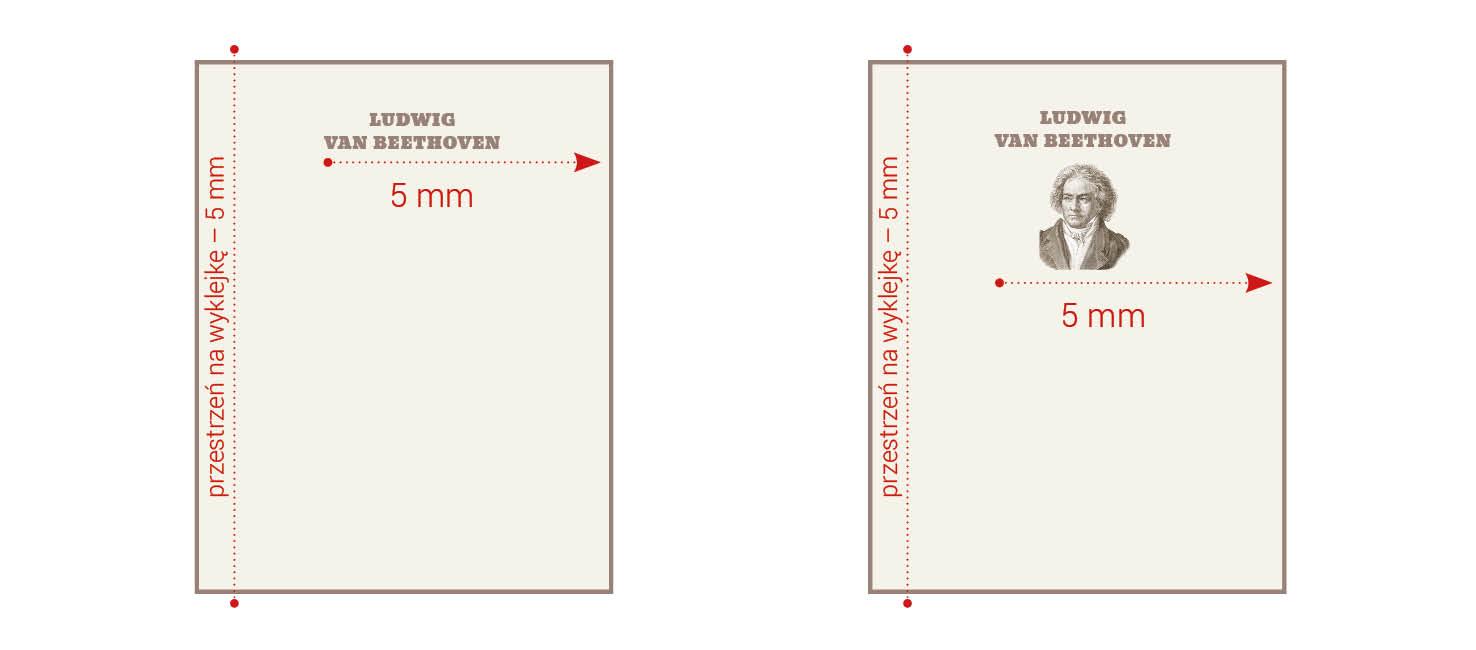 rys.2.Przykłady stron przedtytułowych. Linią przerywaną zaznaczono przestrzeń potrzebną na przymocowanie wyklejki. Elementy strony przedtytułowej przesunięto o 5 mm w stronę marginesu zewnętrznego