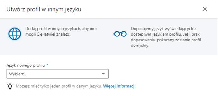 Tutaj przygotujesz swój profil w różnych językach.