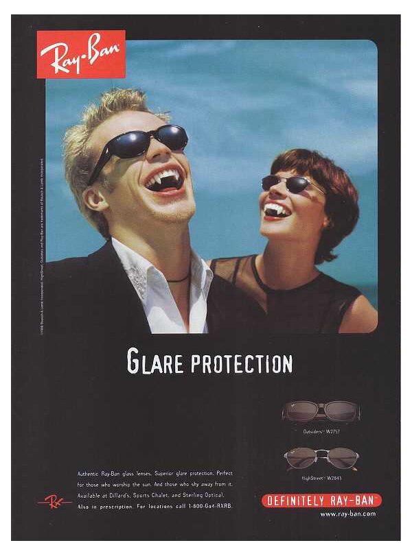 Reklama okularów Ray-Ban z lat 90, designm.ag