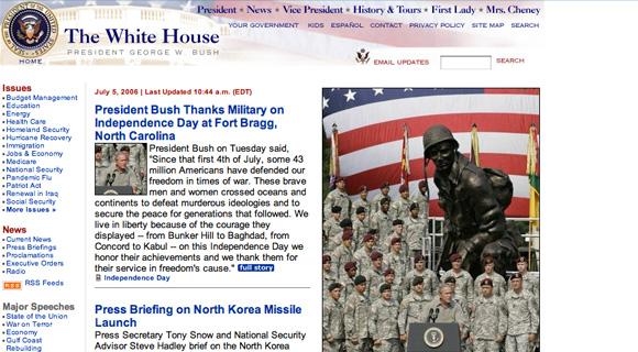Strona Białego Domu w 2006 roku