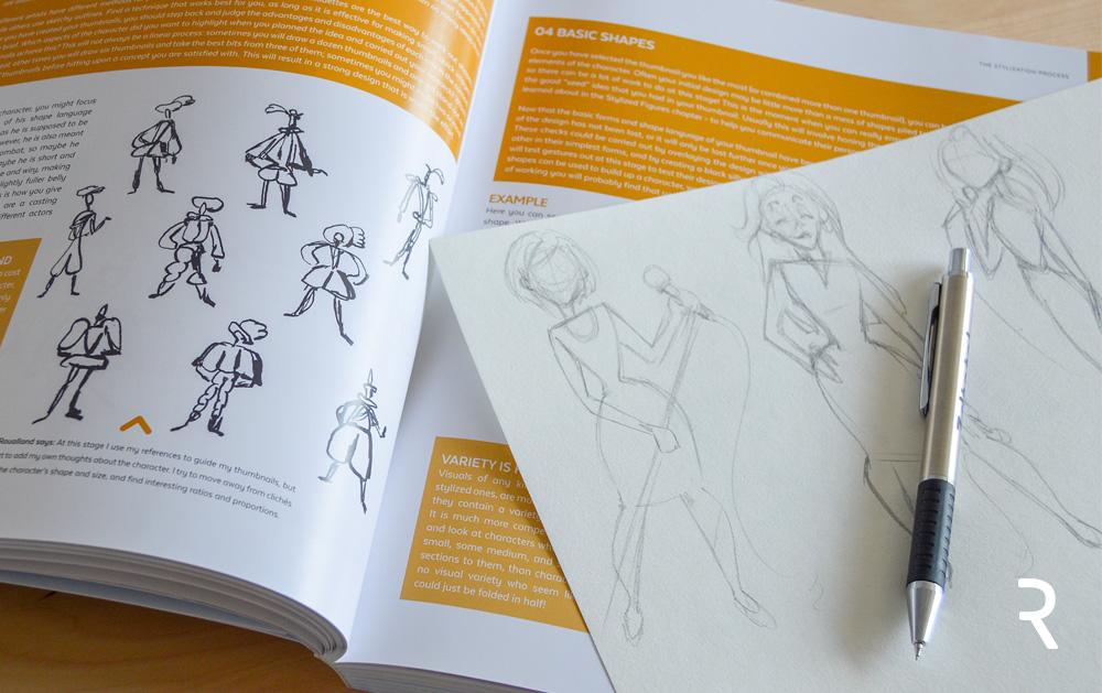 """Postanowiłam przetestować proces pokazany w książce i narysować własną postać. Zdecydowałam się na """"sexi urzędniczkę"""". Moja postać miała mieć kobiece krągłości i być zalotna. Jak widać moje """"miniaturki"""" nie są wystarczająco małe, coś nad czym zdecydowanie muszę popracować!"""