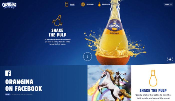 Soczysty niebieski został wykorzystany na stronie producenta oranżady, bo dzięki swojej neutralności, świetnie komponuje się z różnymi jej smakami (kolorami)